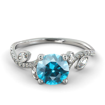 1 Carat 14K White Gold Aquamarine