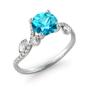 "1 Carat 14K Yellow Gold Aquamarine ""Lucia"" Engagement Ring 