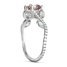 "Load image into Gallery viewer, 2 Carat 14K Rose Gold Morganite & Diamonds ""Lucia"" Engagement Ring"