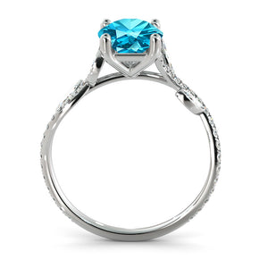 "1 Carat 14K White Gold Aquamarine ""Lucia"" Engagement Ring"