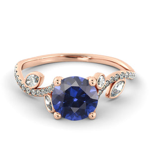 "2 Carat 14K White Gold Blue Sapphire & Diamonds ""Lucia"" Engagement Ring"