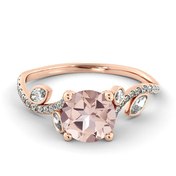 2 Carat 14K Rose Gold Morganite & Diamonds