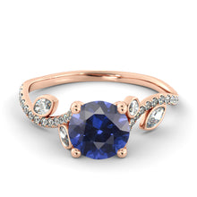 "Load image into Gallery viewer, 2 Carat 14K Rose Gold Blue Sapphire ""Lucia"" Engagement Ring"