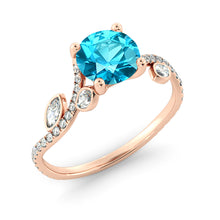 "Load image into Gallery viewer, 1 Carat 14K Rose Gold Aquamarine ""Lucia"" Engagement Ring"