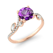 "Load image into Gallery viewer, 1 Carat 14K Yellow Gold Amethyst ""Lucia"" Engagement Ring"