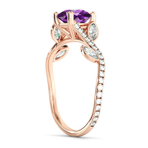 "1 Carat 14K Yellow Gold Amethyst ""Lucia"" Engagement Ring"