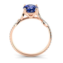 "Load image into Gallery viewer, 2 Carat 14K Yellow Gold Blue Sapphire & Diamonds ""Lucia"" Engagement Ring"