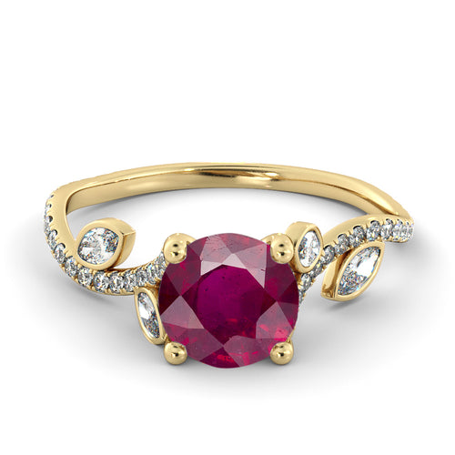 2 Carat 14K Yellow Gold Ruby