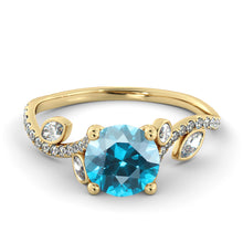 "Load image into Gallery viewer, 1 Carat 14K Yellow Gold Aquamarine ""Lucia"" Engagement Ring - Diamonds Mine"