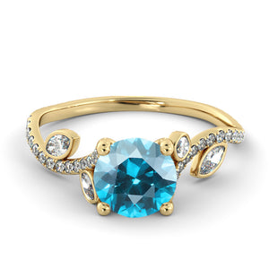 "1 Carat 14K Yellow Gold Aquamarine ""Lucia"" Engagement Ring - Diamonds Mine"