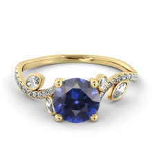 "Load image into Gallery viewer, 2 Carat 14K Yellow Gold Blue Sapphire ""Lucia"" Engagement Ring - Diamonds Mine"