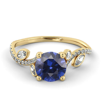"2 Carat 14K Yellow Gold Blue Sapphire ""Lucia"" Engagement Ring - Diamonds Mine"