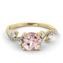 "Load image into Gallery viewer, 2 Carat 14K White Gold Morganite & Diamonds ""Lucia"" Engagement Ring"