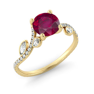"2 Carat 14K White Gold Ruby ""Lucia"" Engagement Ring"