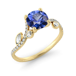 "2 Carat 14K Rose Gold Blue Sapphire ""Lucia"" Engagement Ring"