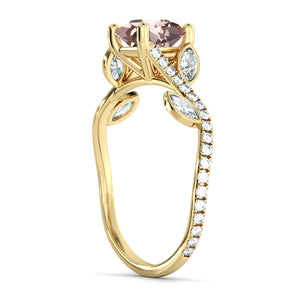 "2 Carat 14K Rose Gold Morganite & Diamonds ""Lucia"" Engagement Ring"