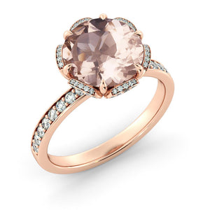 "2.5 TCW 14K Rose Gold Morganite ""Allison"" Engagement Ring - Diamonds Mine"