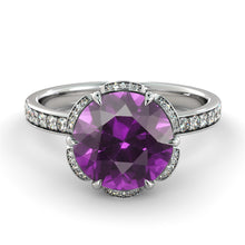 "Load image into Gallery viewer, 2 TCW 14K White Gold Amethyst ""Allison"" Engagement Ring - Diamonds Mine"