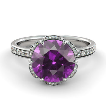 "2 TCW 14K White Gold Amethyst ""Allison"" Engagement Ring - Diamonds Mine"