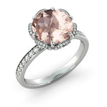 "Load image into Gallery viewer, 2.5 Carat 14K Yellow Gold Morganite & Diamonds ""Allison"" Engagement Ring"