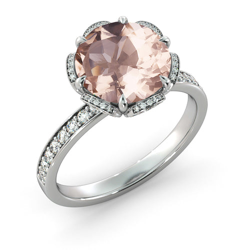 2.5 Carat 14K White Gold Morganite & Diamonds