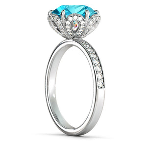 "2 Carat 14K Yellow Gold Blue Topaz & Diamonds ""Allison"" Engagement Ring"