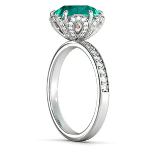"2 Carat 14K White Gold Emerald & Diamonds ""Allison"" Engagement Ring 