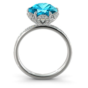 "2 Carat 14K Yellow Gold Aquamarine & Diamonds ""Allison"" Engagement Ring 