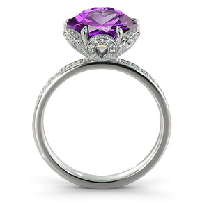 "2 TCW 14K Rose Gold Amethyst ""Allison"" Engagement Ring - Diamonds Mine"