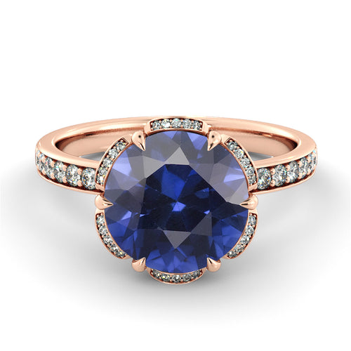 2 Carat 14K Rose Gold Blue Sapphire & Diamonds