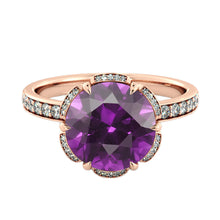 "Load image into Gallery viewer, 2 TCW 14K Rose Gold Amethyst ""Allison"" Engagement Ring - Diamonds Mine"