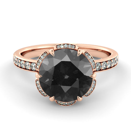 "1.5 TCW 14K Yellow Gold Black Diamond ""Allison"" Engagement Ring - Diamonds Mine"