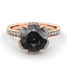 "Load image into Gallery viewer, 1.5 TCW 14K Yellow Gold Black Diamond ""Allison"" Engagement Ring - Diamonds Mine"