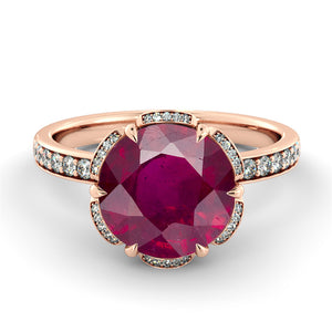 "2.5 Carat 14K White Gold Ruby & Diamonds ""Allison"" Engagement Ring"
