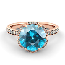 "Load image into Gallery viewer, 2 Carat 14K Yellow Gold Aquamarine & Diamonds ""Allison"" Engagement Ring 