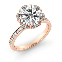 "Load image into Gallery viewer, 1.7 Carat 14K Rose Gold Moissanite & Diamonds ""Allison"" Engagement Ring"