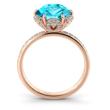 "Load image into Gallery viewer, 2 Carat 14K White Gold Blue Topaz & Diamonds ""Allison"" Engagement Ring"