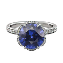 "Load image into Gallery viewer, 2 TCW 14K White Gold Blue Sapphire  ""Allison"" Engagement Ring - Diamonds Mine"