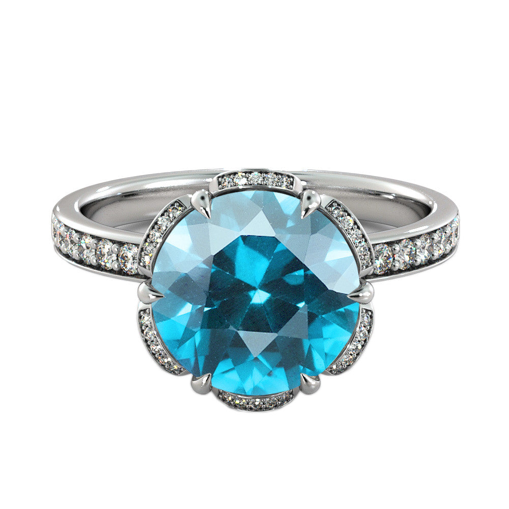 "2 TCW 14K White Gold Blue Topaz ""Allison"" Engagement Ring - Diamonds Mine"