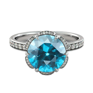 "2 TCW 14K White Gold Aquamarine ""Allison"" Engagement Ring - Diamonds Mine"