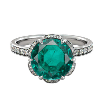 2 Carat 14K White Gold Emerald & Diamonds