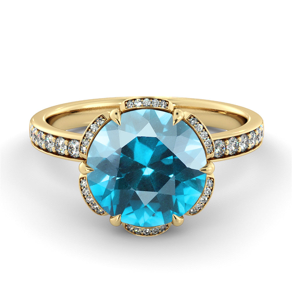 2 Carat 14K Yellow Gold Aquamarine & Diamonds