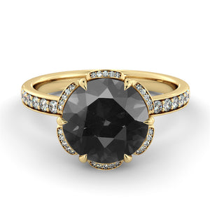 "1.5 TCW 14K White Gold Black Diamond ""Allison"" Engagement Ring - Diamonds Mine"