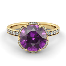 "Load image into Gallery viewer, 2 Carat 14K Rose Gold Amethyst & Diamonds ""Allison"" Engagement Ring 