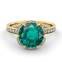 "Load image into Gallery viewer, 2 Carat 14K White Gold Emerald & Diamonds ""Allison"" Engagement Ring"