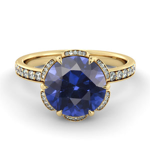 "2 Carat 14K Rose Gold Blue Sapphire & Diamonds ""Allison"" Engagement Ring"
