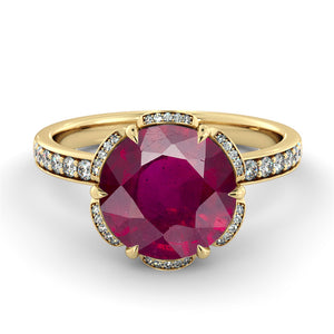 "2.5 Carat 14K Rose Gold Ruby ""Allison"" Engagement Ring"