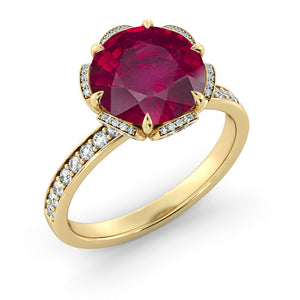 "2.5 Carat 14K White Gold Ruby ""Allison"" Engagement Ring"