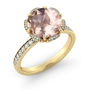 "2.5 Carat 14K White Gold Morganite & Diamonds ""Allison"" Engagement Ring"
