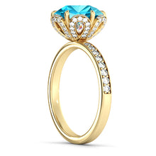 "Load image into Gallery viewer, 2 Carat 14K Yellow Gold Emerald & Diamonds ""Allison"" Engagement Ring"